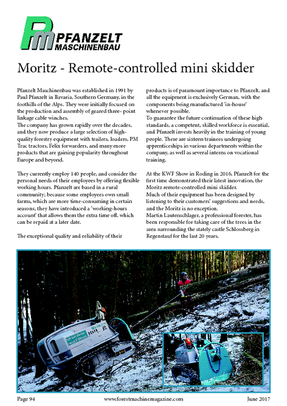 Forestmachinemagazine - Moritz - Remote-controlles mini skidder